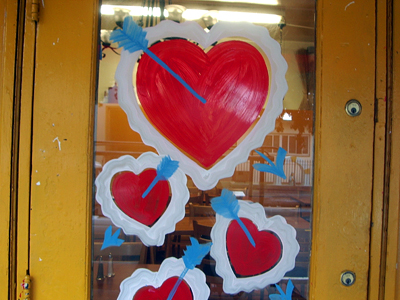 valentine hearts on door