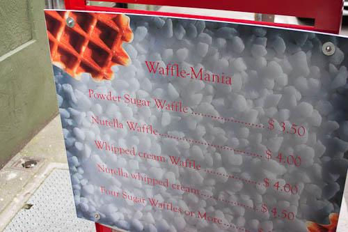 Waffle Mania truck menu