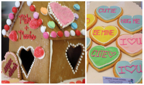 Valentines Gingerbread House and Conversation Heart Cookies