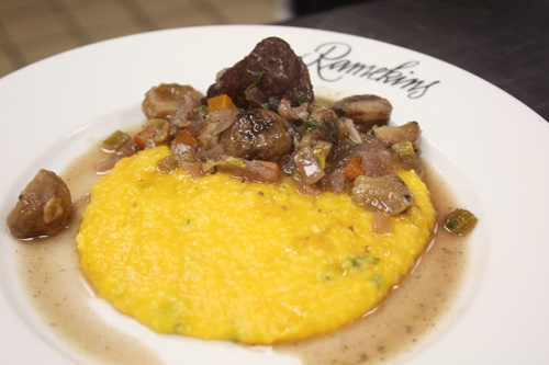 Pork with Chestnuts served with Pumpkin Polenta