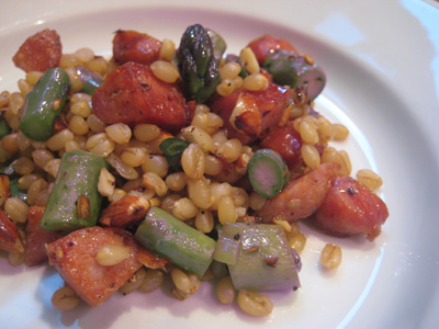 wheat berries with sausage and asparagus