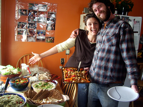 Christina and Gavin and the lunch spread.