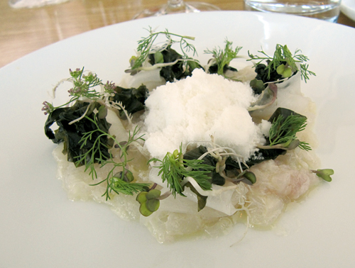 halibut tartare with coriander snow at commis