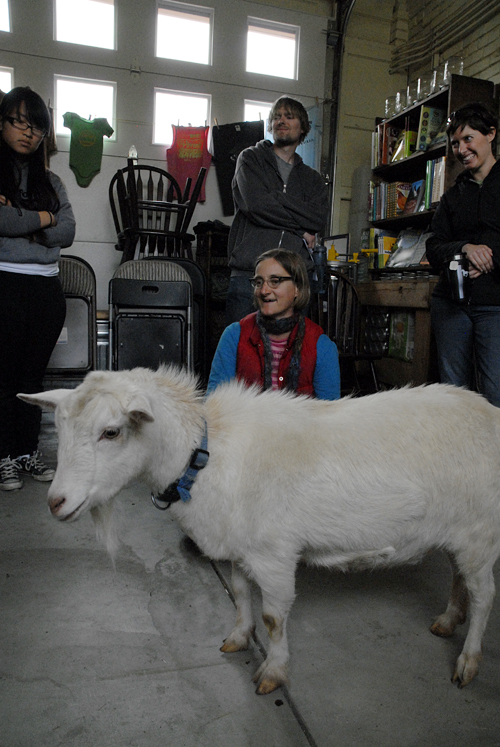 Novella Carpenter teaching Urban Goat 101 with bearded Orla May