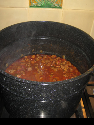 a big pot of chili