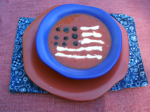 Flag gazpacho soup for the 4th of July