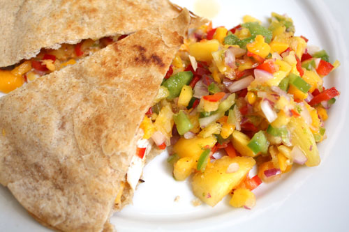 Quesadilla with Pineapple-Mango Salsa