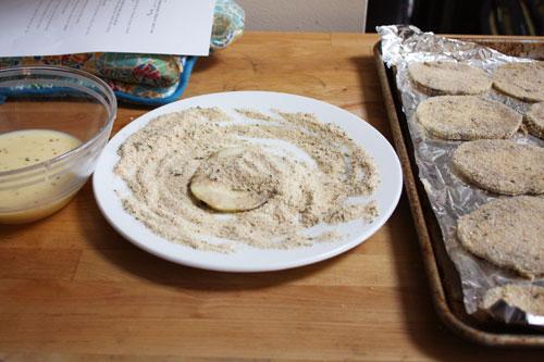 Eggplant breading mise en place