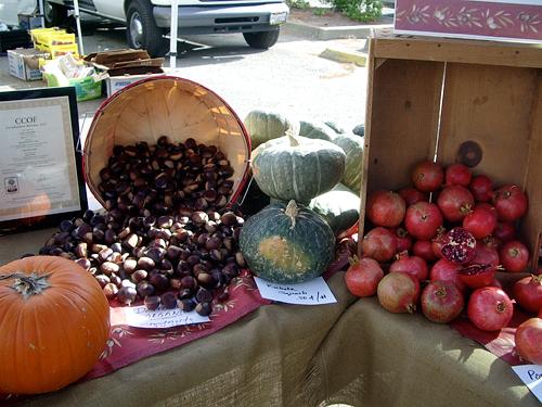 pumpkin, chestnuts, Kabocha squash, pomegranates