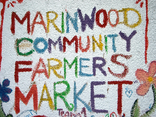 Marinwood market sign. Photo by Charlotte Melrose