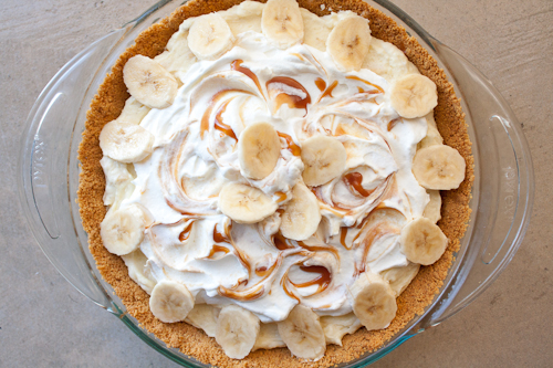 Banana Cream Pie with Chocolate Ganache & Salted Caramel Sauce