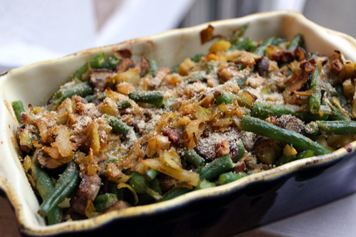 Green Bean Casserole with Fennel, Leeks, Pernod and Toasted Stuffing