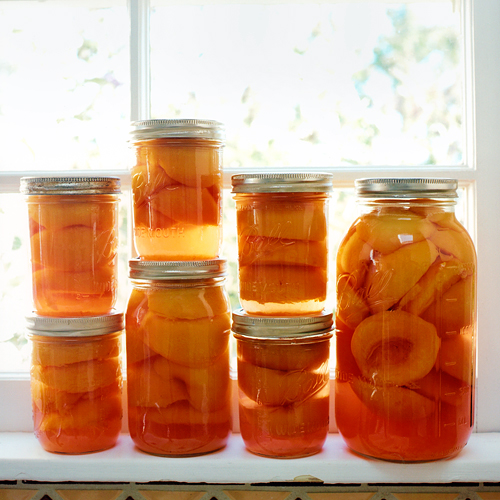 Canned Peaches. Photo by Aya Brackett