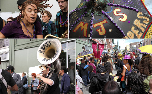 MJs Brass Boppers lead a Mardi Gras Second Line to an Eat-In at CounterPULSE Theater. Photos: Van Nguyen-Stone of Jomi Jomi