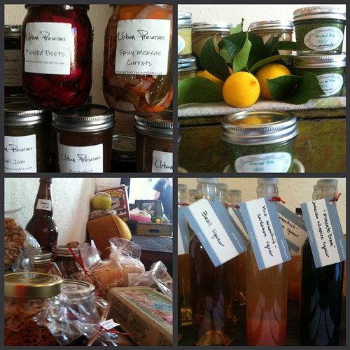 An assortment of preserves, pickles, fermented foods, and baked goods for exchange at Saturdays food swap.