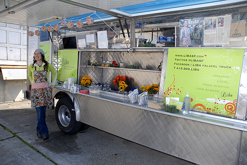 Gail Lillian in front of her Liba Falafel truck