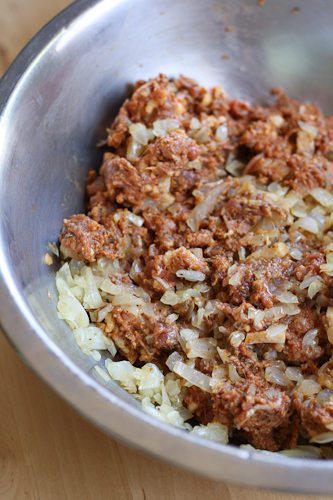 sausage mixture with onions