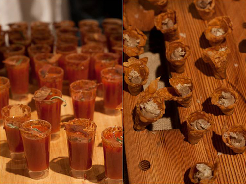 Bacon-spiked Tequila Shooters and Pork Liver Mousseline Cones