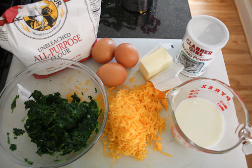 Ingredients for Spinach-Cheddar Pancakes