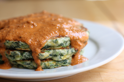Spinach-Cheddar Pancakes with Sundried Tomato Cream
