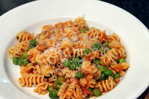 Pasta Piselli: Fresh English Peas, Spring Onions, Pancetta and Pasta