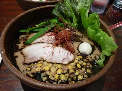 Garlic Pork Ramen with corn from Dojo Ramen