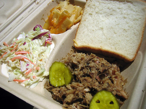 Pulled Pork BBQ plate from Sweet Auburn BBQ truck