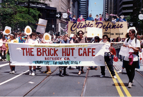 The Brick Hut Cafe contingent at the 1984 San Francisco Pride parade