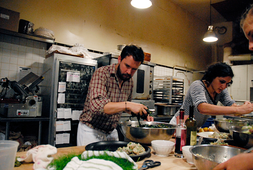 Daniel Klein and Samin Nostrat cook dinner at Tartine Bakery in San Francisco. Photo by Wendy Goodfriend