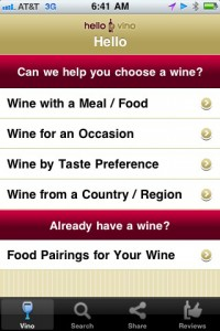 Hello Vino app interface