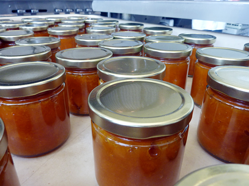 Jars of apricot preserves