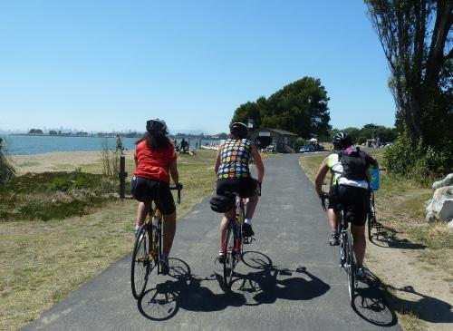 Riding along Alameda