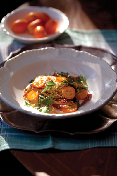 Kumquats and Toasted Couscous with Halloumi. Photo: Sara Remington