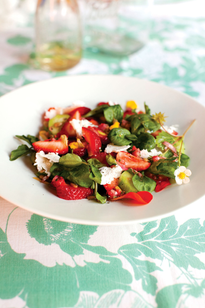 Strawberry, Nasturtium, and Cucumber Salad. Photo: Sara Remington