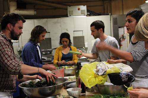 Tartine Bakery kitchen - preparing Perennial Plate dinner. Photo: The Perennial Plate