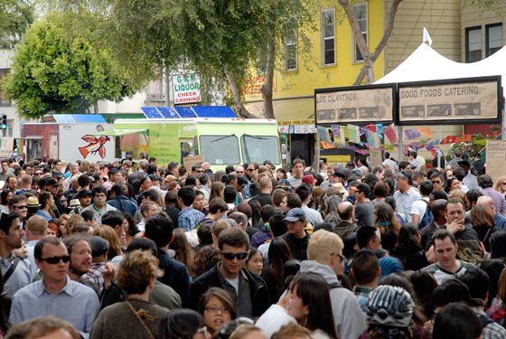The afternoon crowds at the San Francisco Street Food Festival. Photo by Wendy Goodfriend