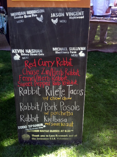 Rabbit menu from Heritage Fire. Photo by Laiko Bahrs