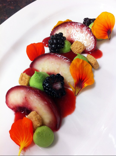 Chefs Night Off July 11 Dinner - nasturtium namalaka, peach, blackberries and almond streusel