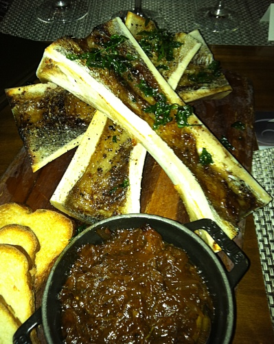 Bone marrow with short rib marmalade. Photo by Lisa Adams Walter