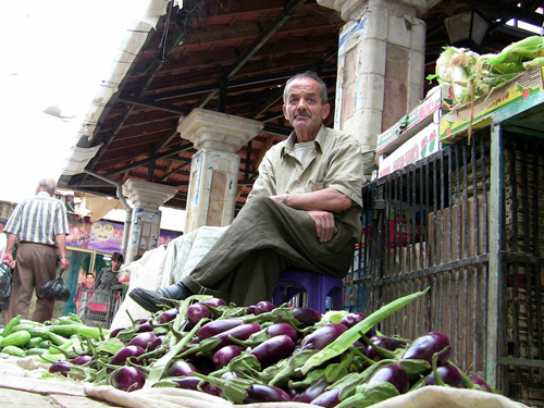 A Palestinian farmers market vendor shown in Corner Store.