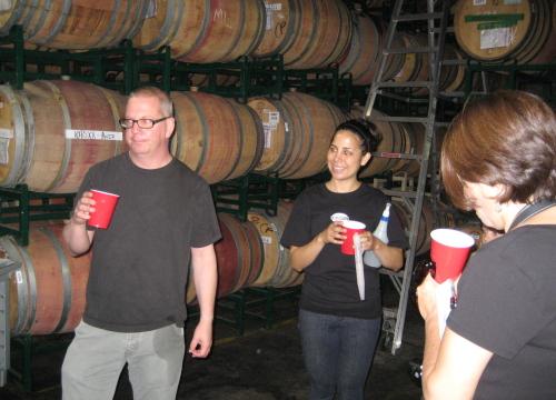 Crushpad's Stu Ake leading barrel tasting