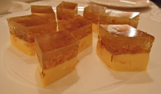 mango pudding, flower jelly