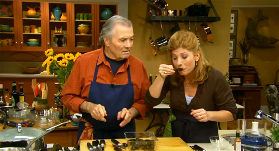 Chef Jacques Pepin on the set of Essential Pepin with his daughter, Claudine demonstrates to how to clean mussels.