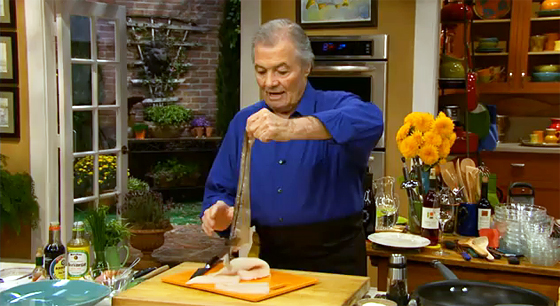 Jacques Pepin demonstrates how to make haddock steaks in rice paper with a shallot and soy sauce.
