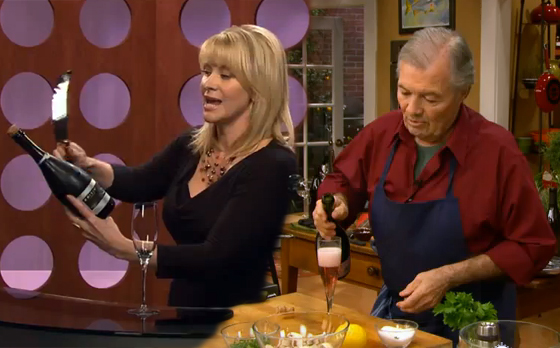 Leslie Sbrocco and Jacques Pepin share techniques for opening champagne