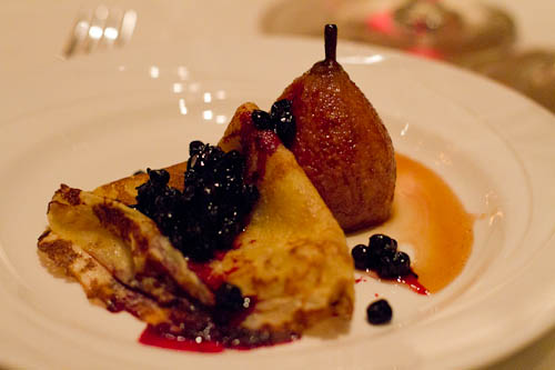 Pear, Huckleberry Crepes, Mascarpone