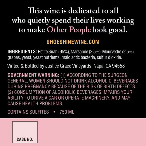 Back label of Shoe Shine Wine
