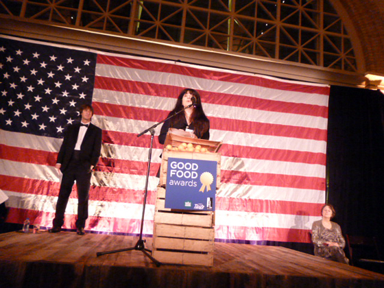 Caleb Zigas of La Cocina, Ruth Reichl, and Alice Waters, at the Good Food Awards.