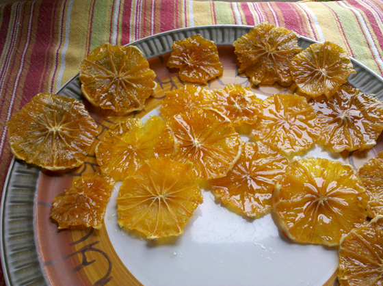 Dried oranges on plate