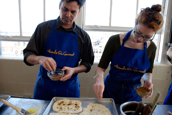 Mark and Lisa making naan. Photo: Wendy Goodfriend